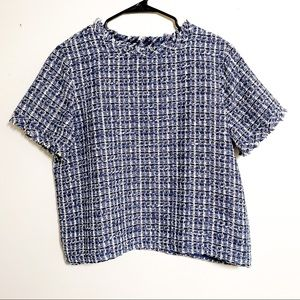 Ann Taylor Factory Blue/White/Pink Tweed Top Large